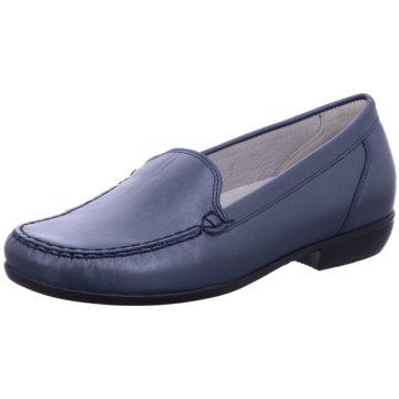 Waldläufer Mokassin Slipper blau